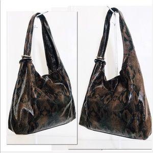 Kate Landry Leather Python Embossed Hobo Bag
